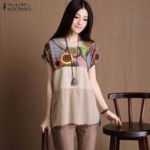 ZANZEA 2016 Summer Women Cotton+Linen Shirts Casual Loose Vintage Short Sleeve O - $37.20