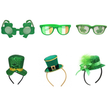 Green Hat Headband For St. Patricks Day Lucky Shamrock Glasses Irish Tra... - $9.99