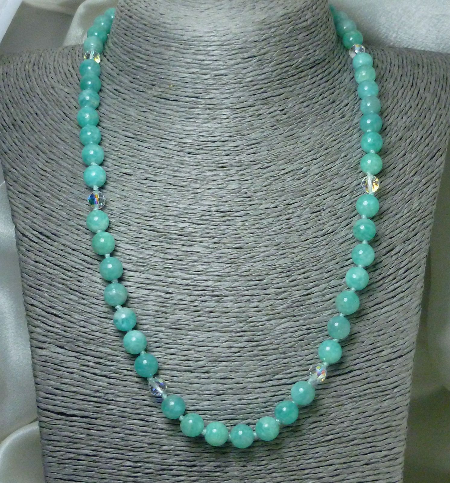 Peruvian Amazonite Round Gemstone and Crystal Necklace 19 inch