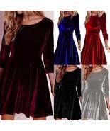 Winter Women Lady Velvet Swing Plush Dress Party Evening Porm Skater Min... - $31.62