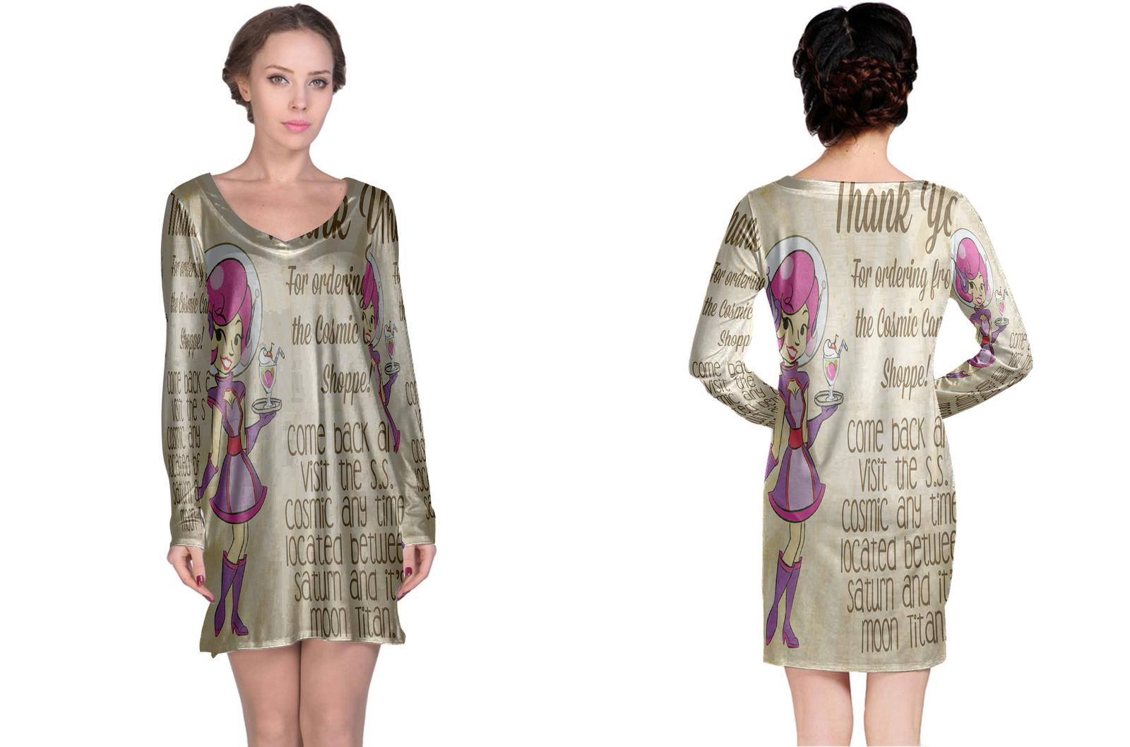 Retro space waitress long sleeve night dress