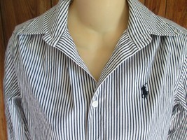 Ralph Lauren Sport Top Womens Small Striped Blue White - $8.90