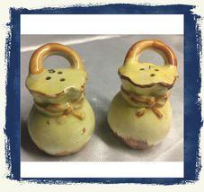 Vintage 50s Sack Motif Salt/Pepper Shakers Signed JAPAN~ Yellow/Brown Po... - $13.40