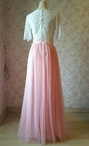 High Waisted Long Tulle Skirt Bridesmaid Outfit Tutu Skirt,Blush Pink (US0-US28) image 6