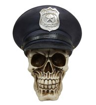 "Atlantic Collectibles 7"" Tall Law Enforcement Police Skull With Badge Ha... - $27.99"