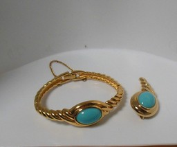 Monet Signed Gold Turquoise Hinged Bracelet W/Safety Chain & Matching Br... - $44.55