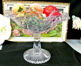 IMPERIAL GLASS tall large glass comport fruit bowl made of embossed glass - $47.45