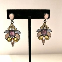 Pastel Rhinestones Earrings Gold Tone Statement Post Dangle Pierced  J6622 - $12.34