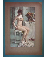 NUDE Young Girl at Toilette Pestered by Fly - COLOR Typogravure Print - $22.95