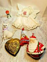 6 Vintage Christmas Ornaments Santa Bell Angel Cat Choir Singer Clown Heart