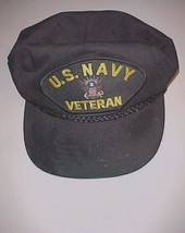 U.S. Navy Veteran Logo Nissun Black Baseball Cap Hat One Size Fit All - $22.76