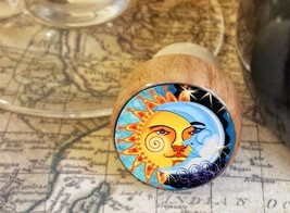 Sun and Moon Wine Stopper, Handmade Day and Night Art Bottle Stopper - $8.86