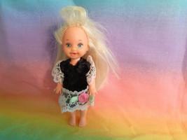 Mattel Barbies Little Sister Kelly Doll Blonde Hair Black Velvet Dress n... - $5.89