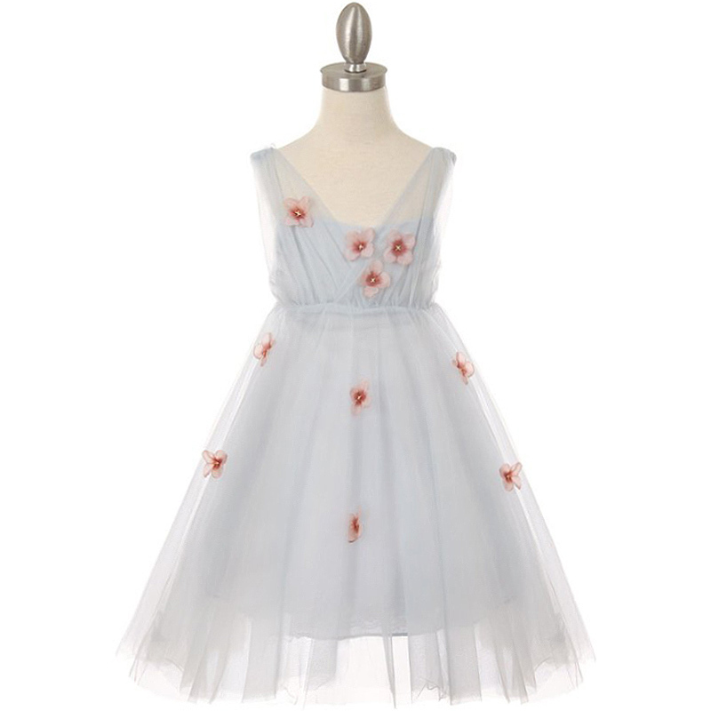 Blue Pleated Tulle Girl Dress with Raised Flowers