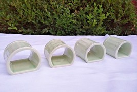 4 Pcs J C Penney Coventry-Sage China Napkin Ring light Green Embossed Be... - $7.88