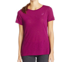 Asics Womens Short Sleeve Layering Top, Plum, Large - Fast Free Shipping! - $16.88