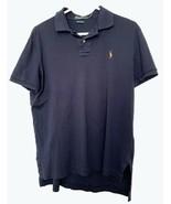 Man's Navy Blue Polo Shirt, 2 Button, Medium, 100% Cotton, Ralph Lauren Polo - $14.97