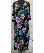 Kiyonna Lane Bryant Tropical Printed Pattern Cold Shoulder Wrap Dress Si... - $38.88