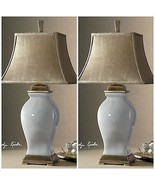 "TWO 33"" SKY BLUE CRACKLE GLAZE OVER PORCELAIN TABLE LAMP COFFEE BRONZE D... - $567.80"