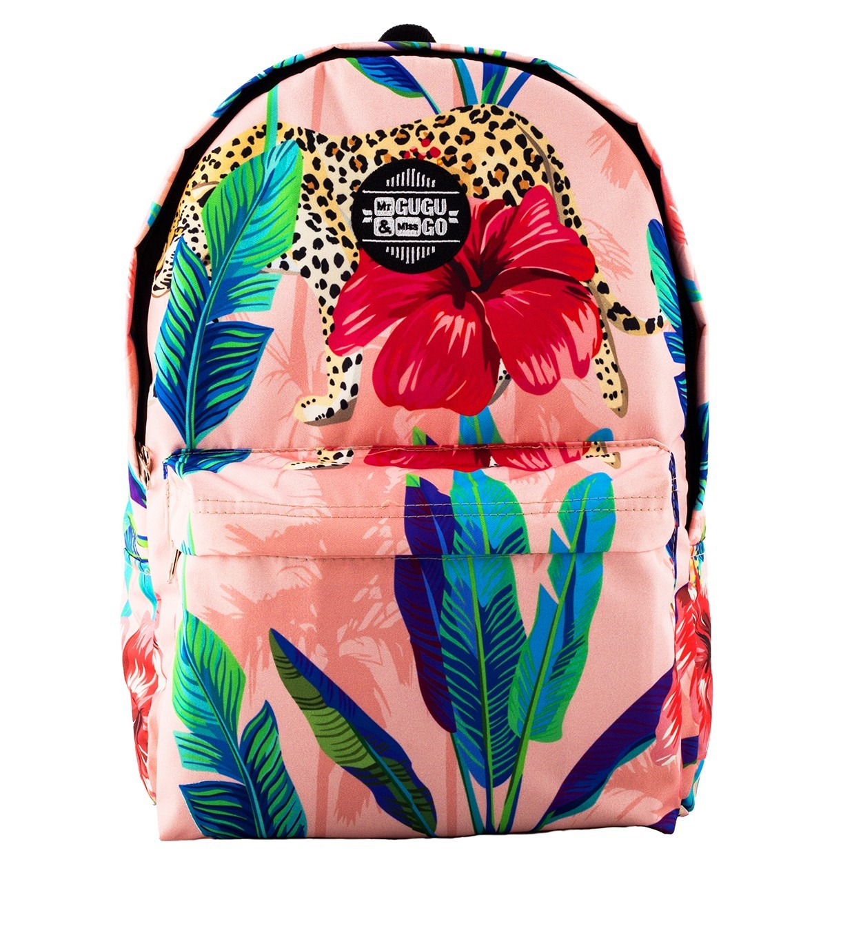 Printed Backpack Floral Cheetah Design | Mr. Gugu & Miss Go