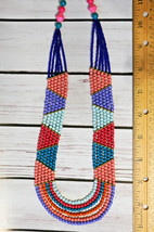 Vintage chunky multicolor multistrand tribal beaded Necklace coral purple teal - $24.74