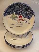 Thomson Pottery Snowman pattern - set/lot of 4 Snowman Dinner plates - 1... - $14.84