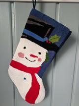 Snowman Christmas Stocking Blue Needlepoint Felt Back Lined Holiday - $14.50
