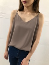 WHITE Summer Chiffon Top Sleeveless V-Neck Chiffon Tank Wedding Bridesmaid Tops  image 7