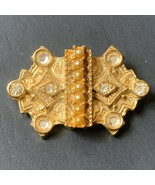 Vintage Small Brooch Pin Faux Seed Pearl Clear Rhinestone Gold Tone Revival - $11.84