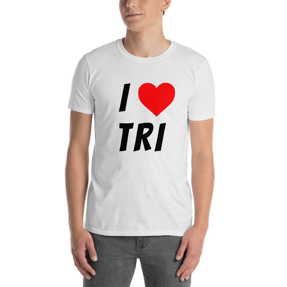 18beb490c RSR Outdoors I Love Tri Triathlon Short-Sleeve Unisex T-Shirt
