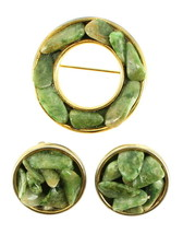 VINTAGE JADE CHIP CHANNEL SET ROUND PIN & MATCHING CLIP EARRINGS - $67.49