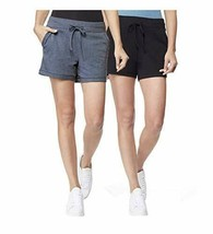32 DEGREES Cool Women's 2 Pack Pull on Shorts, Black/Ht Indigo, Large - $20.73