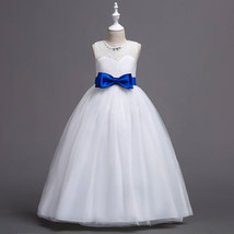 Beauty Flower Girl Dresses 2018 Blue Bow First Communion Dress Formal Party Gown image 3