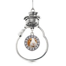 Inspired Silver I Love Guinea Pigs Circle Snowman Holiday Christmas Tree Ornamen - $14.69