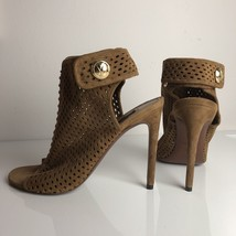 Louis Vuitton Brown Perforated Suede Open Toe Ankle Sandals Sz 38.5 UK5.5 US8.5 - $495.00