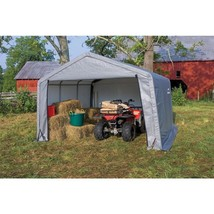 Storage Shed Peak Style 12 x 12 x 8 Heavy Duty Steel Frame Outdoor Garag... - $279.06