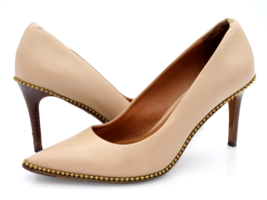 Coach Womens 6 Beige Leather Pointed Toe Slip On Studded Pump Heels  - $49.99