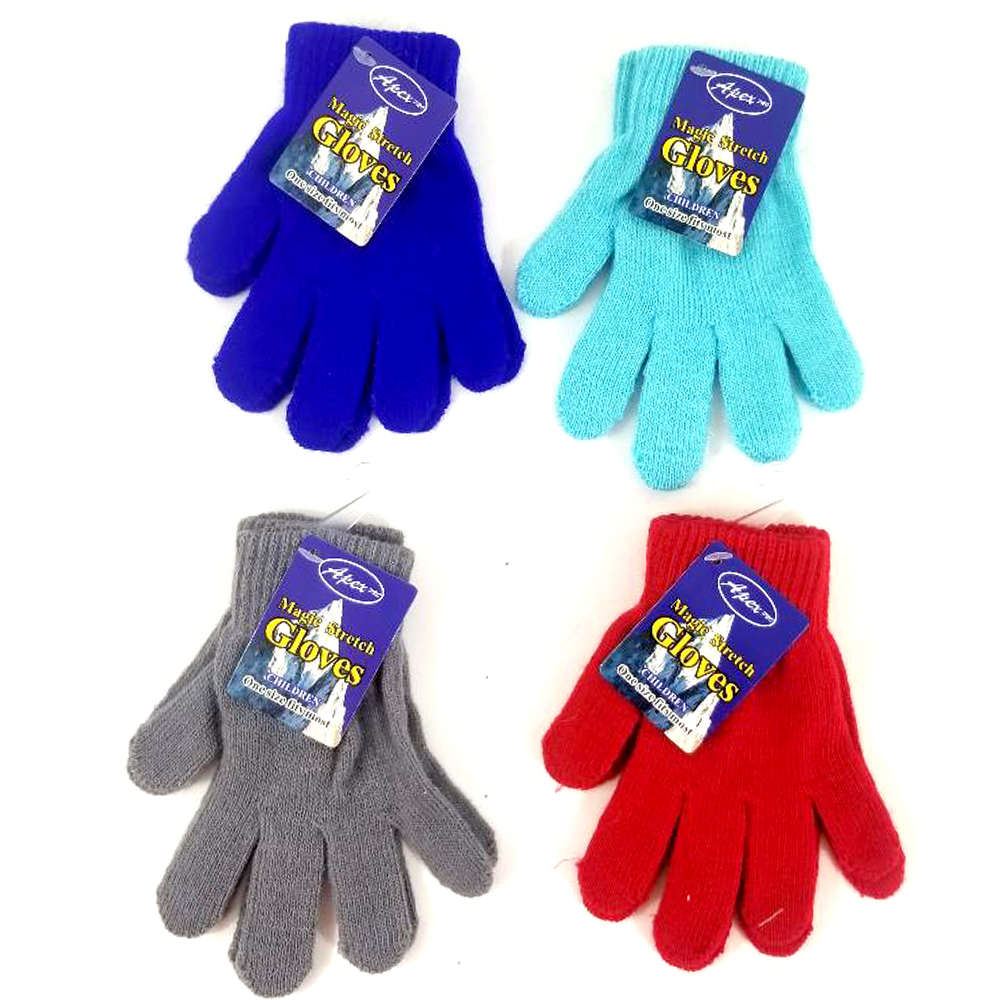Case of [48] Kids' Stretch Magic Gloves - Assorted Colors