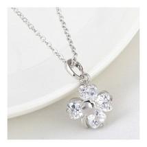 Necklace Lucky Clover 18K Gold Platinum Zircon Pendant   white - $10.88
