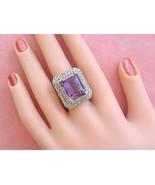 ANTIQUE DECO 13ct EMERALD CUT AMETHYST .85ctw ROSE DIAMOND COCKTAIL RING 1930 - £2,118.10 GBP