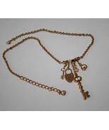 St. John Knits Logo Gold Tone Key & Heart Charm Necklace  J298 - $78.00