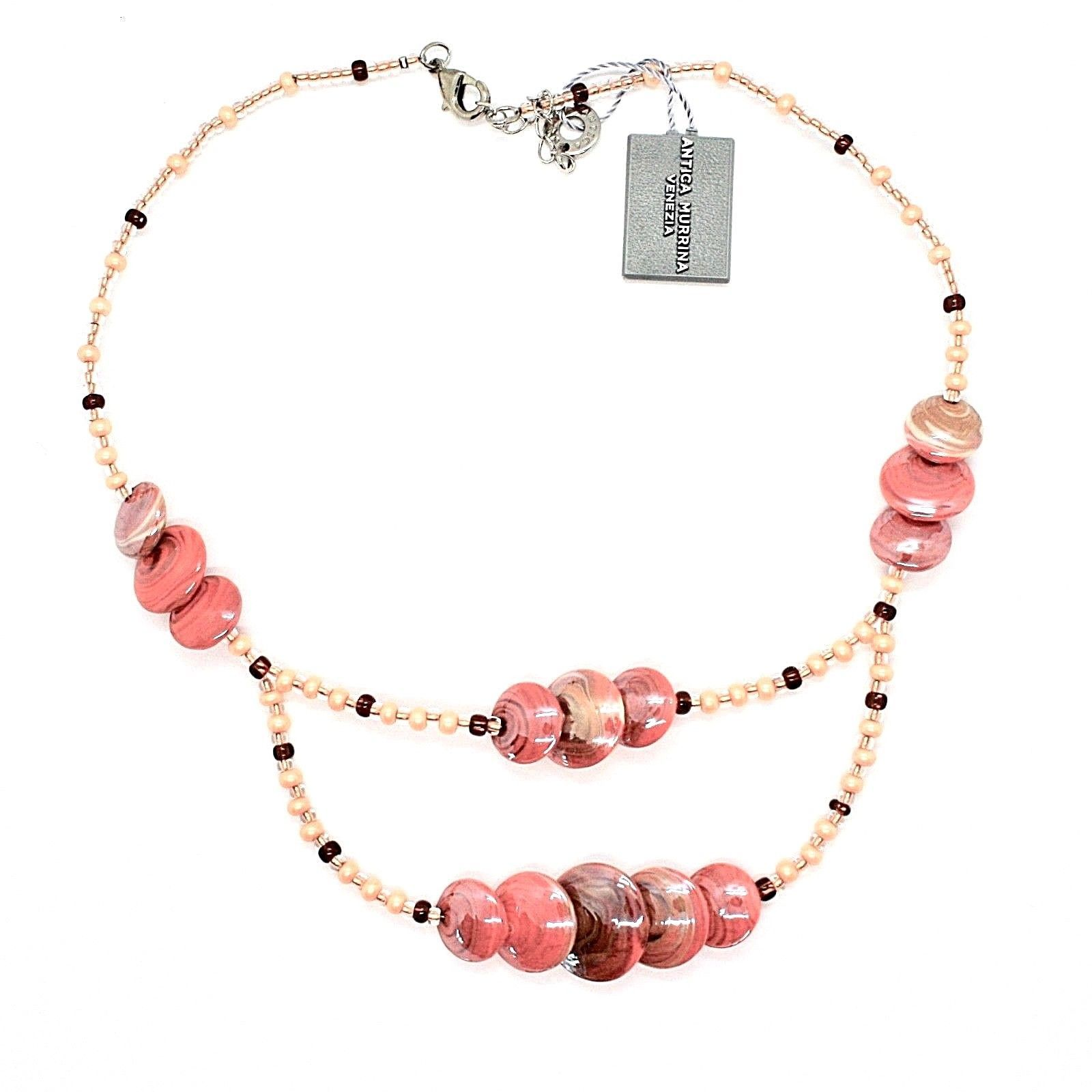 NECKLACE ANTICA MURRINA VENEZIA WITH MURANO GLASS ORANGE BEIGE CO960A25