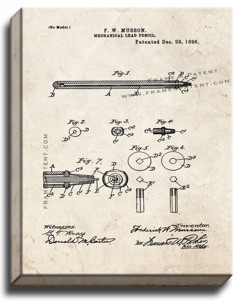 Primary image for Mechanical Lead Pencil Patent Print Old Look on Canvas