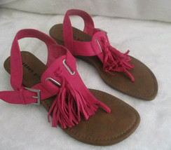 Madden Girl Pink Sandal Sz 9M Faux Suede Tassels Sling back Strappy Welview - $20.26