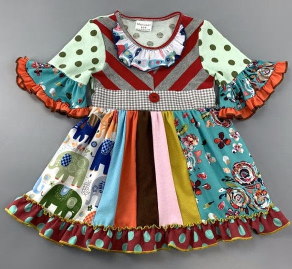Primary image for NEW Girls Boutique Multi-Print Short Sleeve Blue Ruffle Dress 5-6 6-7 7-8