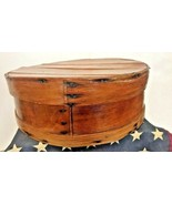 "Vintage Primitive Round Bentwood Shaker Pantry Cheese Box Wood Slatted Nails 14"" - $44.54"