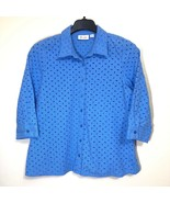 Denim and Co Eyelet Button Front Shirt Womens Size L Summer Casual  - $29.69