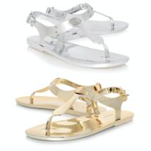 Michael Kors Jelly Pvc Thong Sandal Mk Logo Plate Matte Silver Gold New In Box - $49.88
