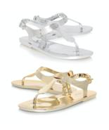 MICHAEL KORS Jelly PVC Thong Sandal MK Logo Plate Matte Silver Gold NEW ... - $49.88
