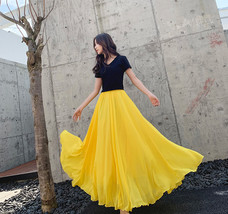 Women's High Waist Long Chiffon Skirt Yellow Chiffon Maxi Summer Wedding... - $48.99+